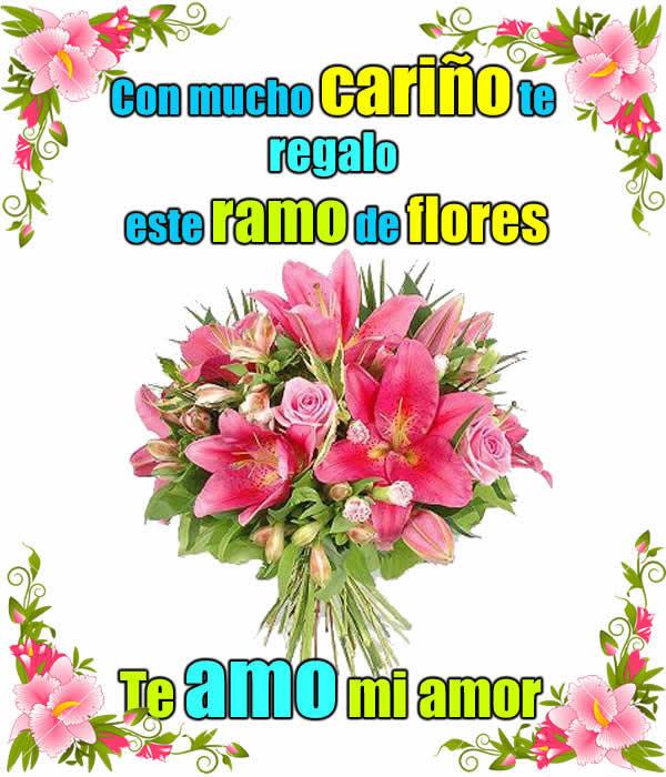 Ramo de flores con frases